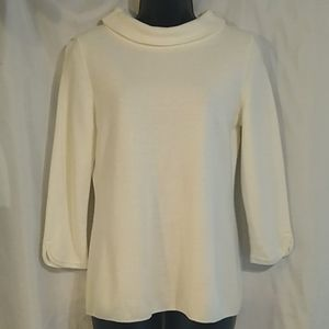 Talbot's White 3/4 Sleeve Boat Neck Sweater Top